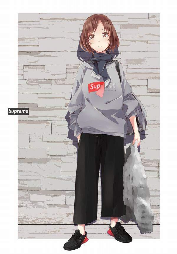 【並んで買ったの?】SUPREME(シュプリーム)を着てる女子達の二次画像【17】