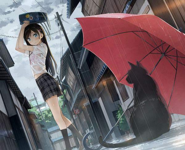 【仕方ないね】学生カバンを傘代わりに使う女子高生達の二次エロ画像【6】
