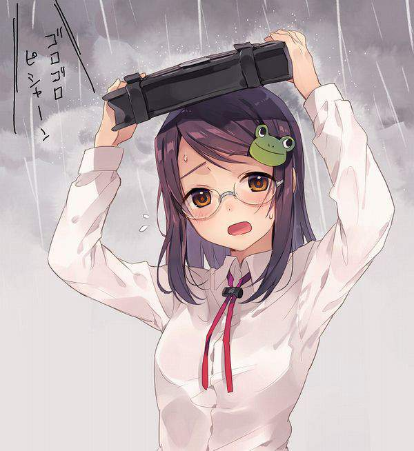 【仕方ないね】学生カバンを傘代わりに使う女子高生達の二次エロ画像【7】