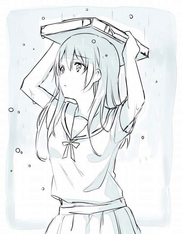【仕方ないね】学生カバンを傘代わりに使う女子高生達の二次エロ画像【13】