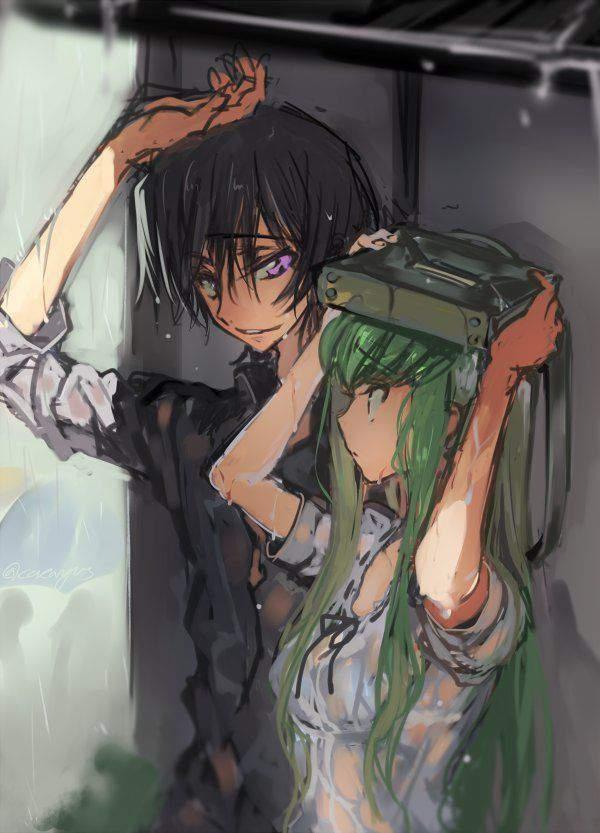 【仕方ないね】学生カバンを傘代わりに使う女子高生達の二次エロ画像【16】