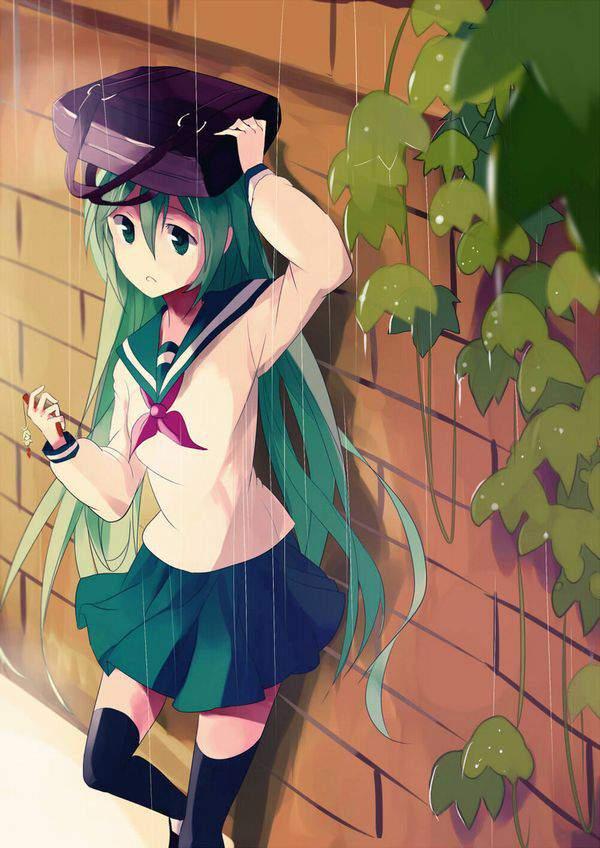 【仕方ないね】学生カバンを傘代わりに使う女子高生達の二次エロ画像【18】