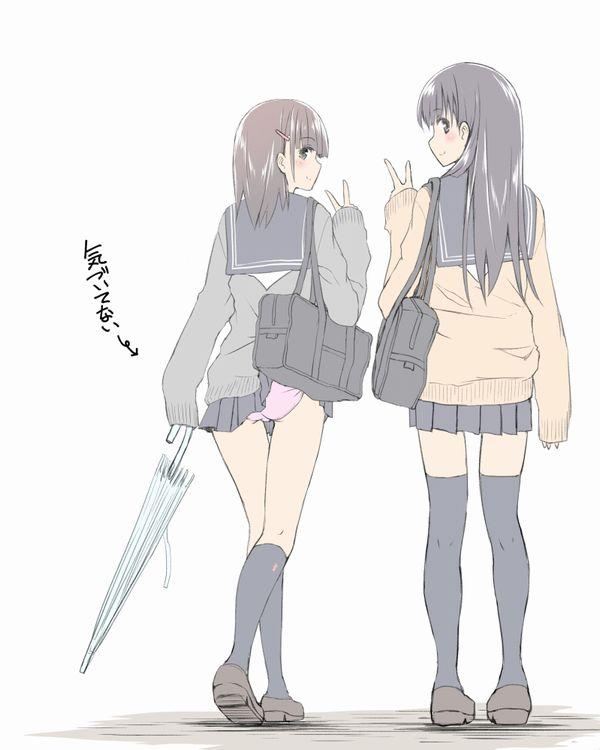 【JKあるある】学生カバンにスカートが引っかかってパンチラしてる二次エロ画像【11】