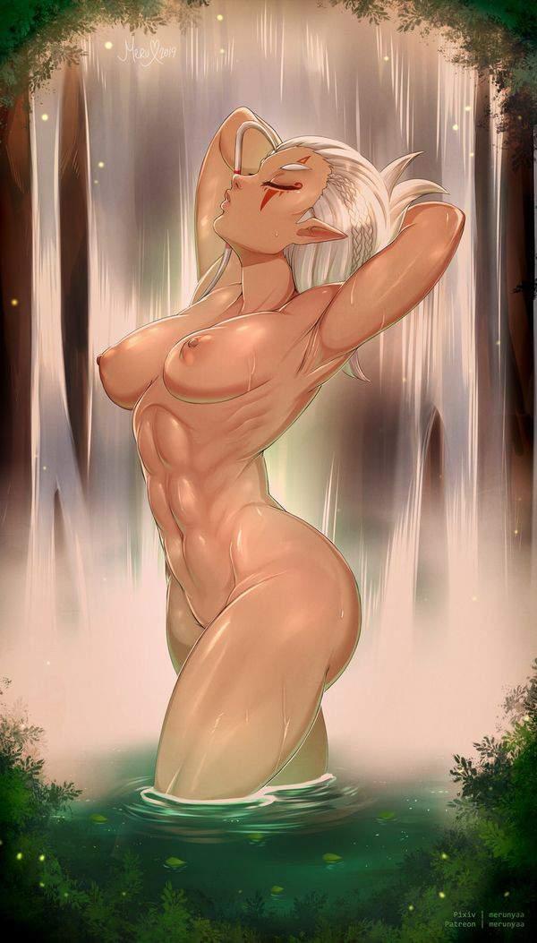 【横乳に注目】全裸の女の子を真横から眺める二次エロ画像【10】