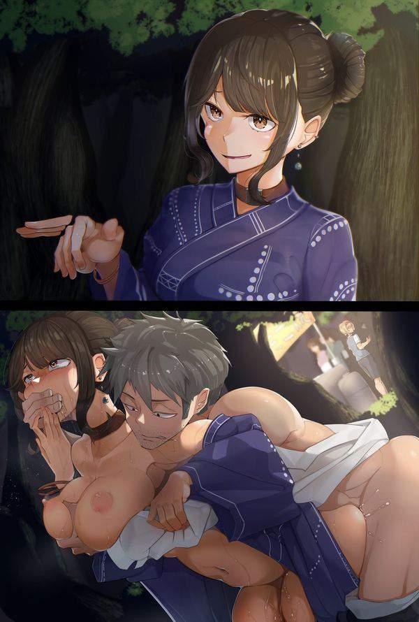 【パンティライン対策】ノーパンで浴衣着用してる女子達の二次エロ画像【40】