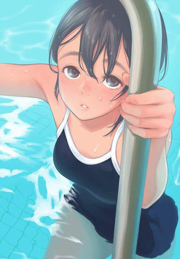 【【肌に密着】水が滴る競泳水着の二次エロ画像【14】