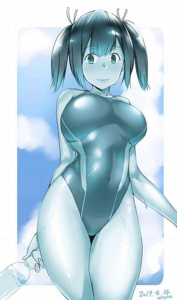 【【肌に密着】水が滴る競泳水着の二次エロ画像【19】
