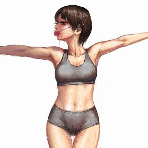【趣味はジム通い】スポーツブラ&スポーティーショーツ姿な女子の二次エロ画像【8】