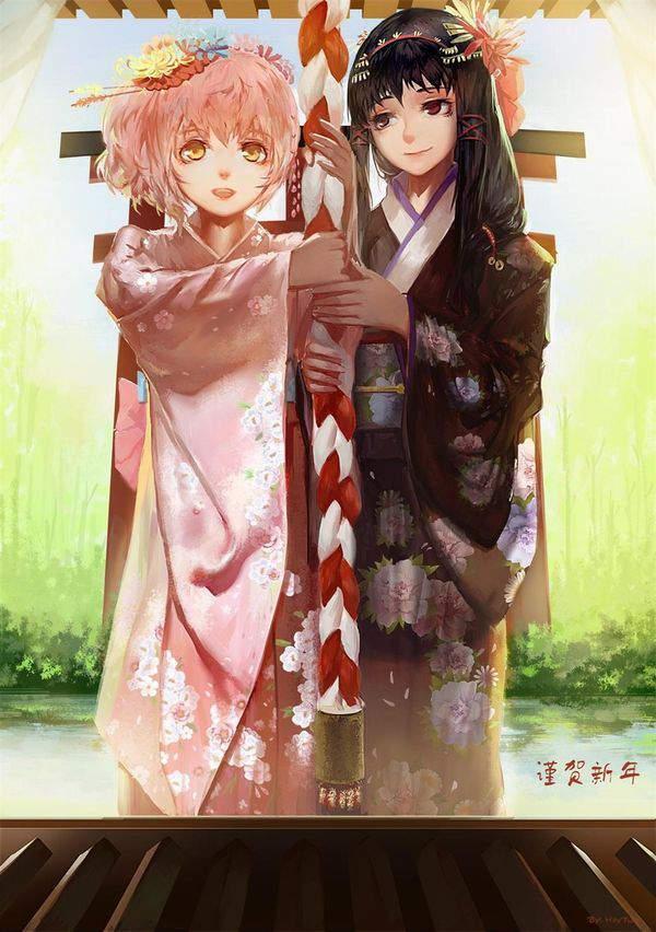 【初詣】晴れ着姿で神社にお参りする女の子達の二次画像【2】