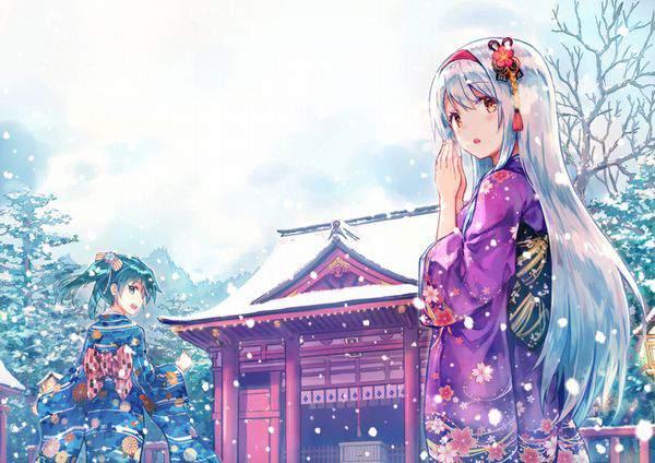 【初詣】晴れ着姿で神社にお参りする女の子達の二次画像【3】