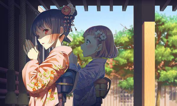 【初詣】晴れ着姿で神社にお参りする女の子達の二次画像【6】