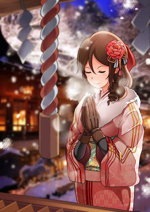 【初詣】晴れ着姿で神社にお参りする女の子達の二次画像【23】