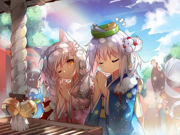 【初詣】晴れ着姿で神社にお参りする女の子達の二次画像【28】