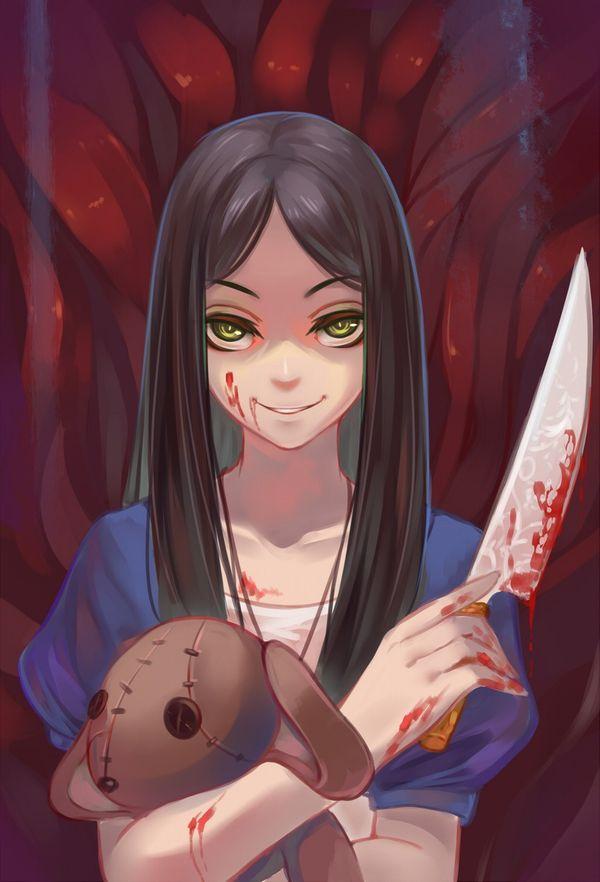【その勘が言ってる】血の着いたナイフや包丁を手にしてコッチを見つめる女子達の二次エロ画像【オレはここで死ぬ】【10】