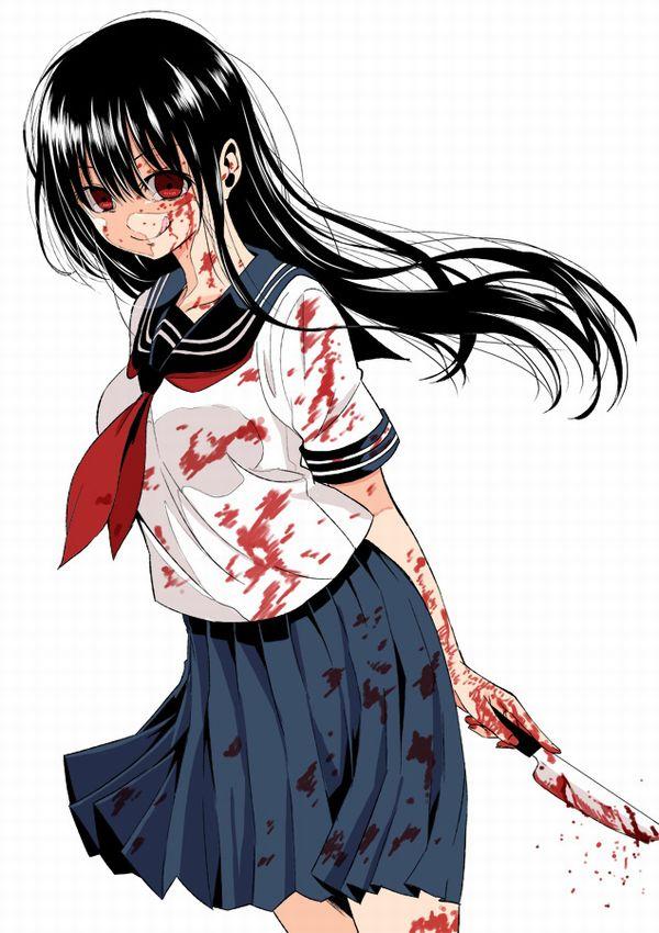 【その勘が言ってる】血の着いたナイフや包丁を手にしてコッチを見つめる女子達の二次エロ画像【オレはここで死ぬ】【28】