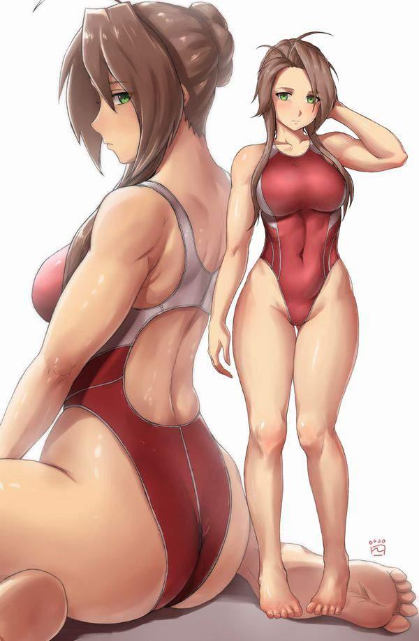 【食い込み】ケツ肉がほぼハミ出してる競泳水着の二次エロ画像【27】