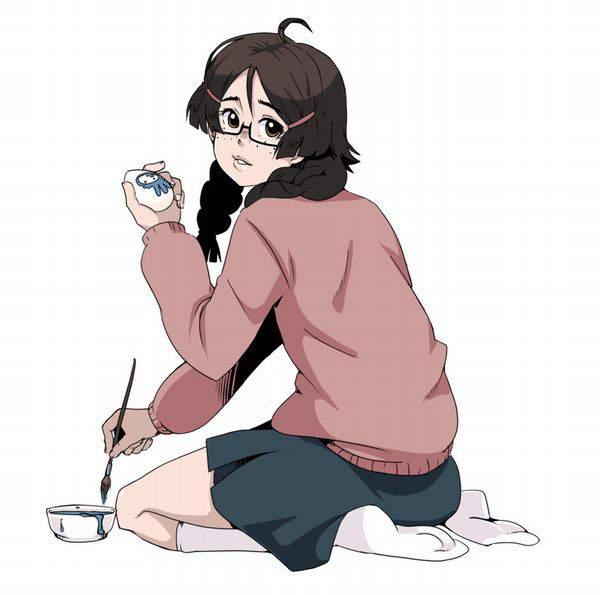 【玄関開けたらいる人】メガネ地味子の二次エロ画像【14】