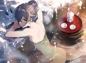 【冬の醍醐味】雪が降る中、露天風呂を楽しむ女子達の二次エロ画像