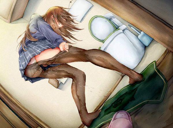 【愛液】パンツが濡れてしまったので脱ごうとしてる二次エロ画像【尿】【11】