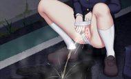 【ズボラ】パンツを横にずらしてオシッコしてる女子達の二次エロ画像
