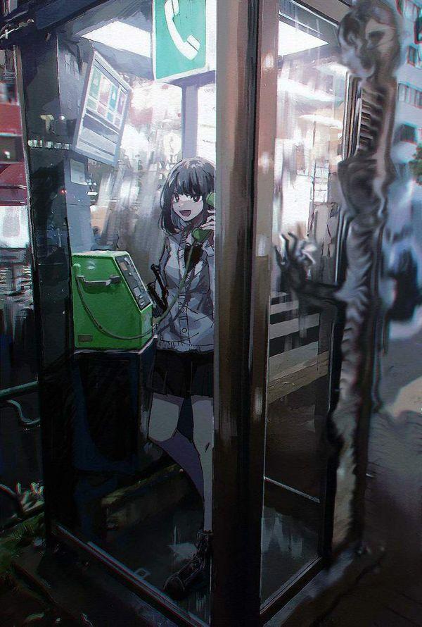 【過去の遺物】電話ボックスを使う女子達の二次エロ画像【15】