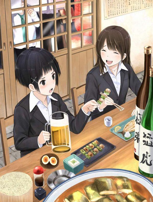 【オンラインじゃない飲み会】居酒屋でお酒飲んでる女子達の二次画像【16】