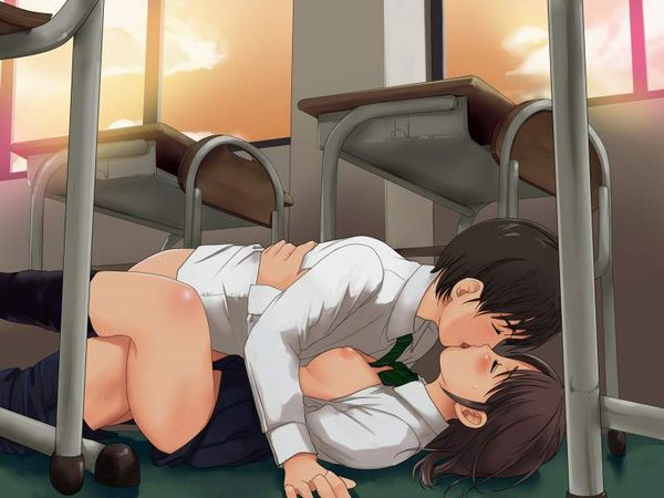 【そういうお年頃】教室で普通にセックスしてる高校生カップルの二次エロ画像【13】