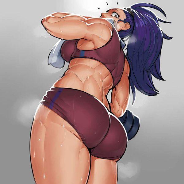 【ガチめの筋肉勢】ダンベルを使ったトレーニングをする女子達の二次エロ画像【8】
