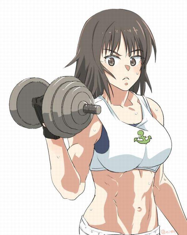 【ガチめの筋肉勢】ダンベルを使ったトレーニングをする女子達の二次エロ画像【11】