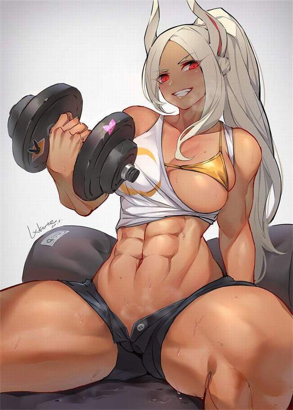 【ガチめの筋肉勢】ダンベルを使ったトレーニングをする女子達の二次エロ画像【24】