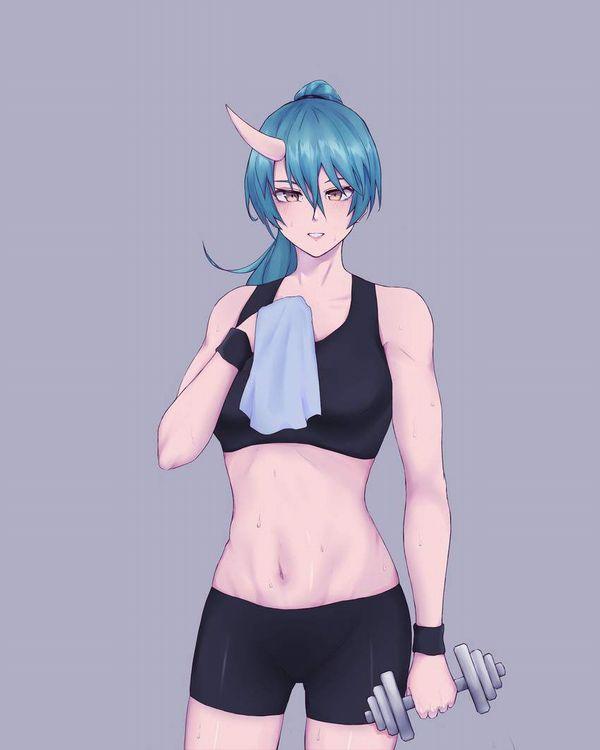【ガチめの筋肉勢】ダンベルを使ったトレーニングをする女子達の二次エロ画像【26】
