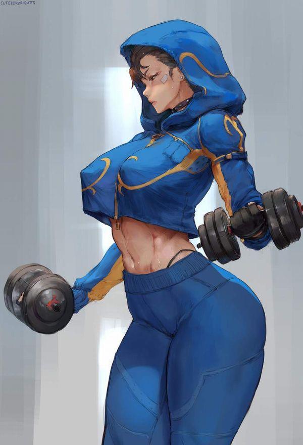 【ガチめの筋肉勢】ダンベルを使ったトレーニングをする女子達の二次エロ画像【28】