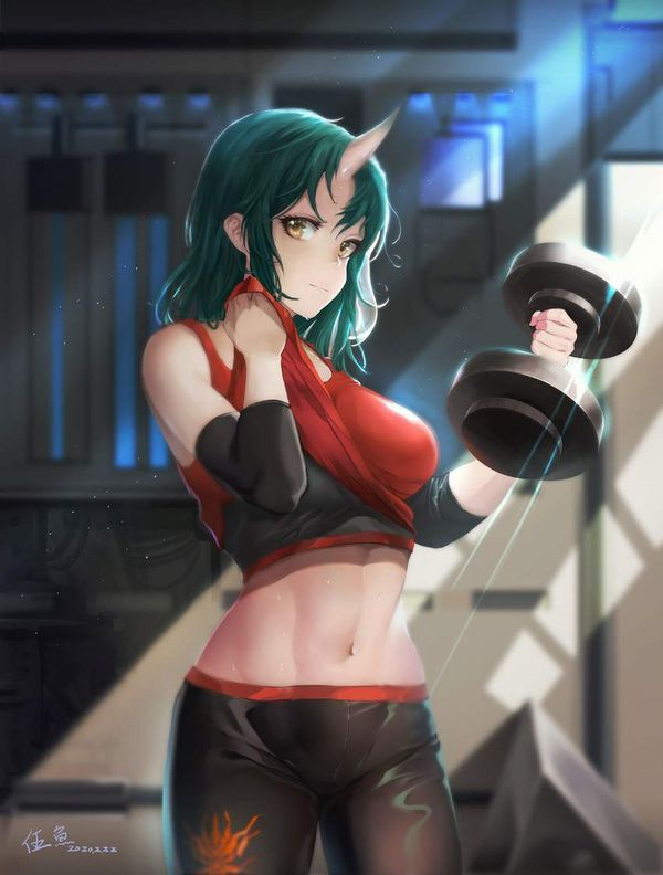 【ガチめの筋肉勢】ダンベルを使ったトレーニングをする女子達の二次エロ画像【33】