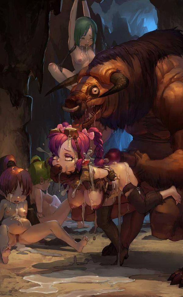 【逆襲】牛さんに陵辱される女子達の二次エロ画像【16】