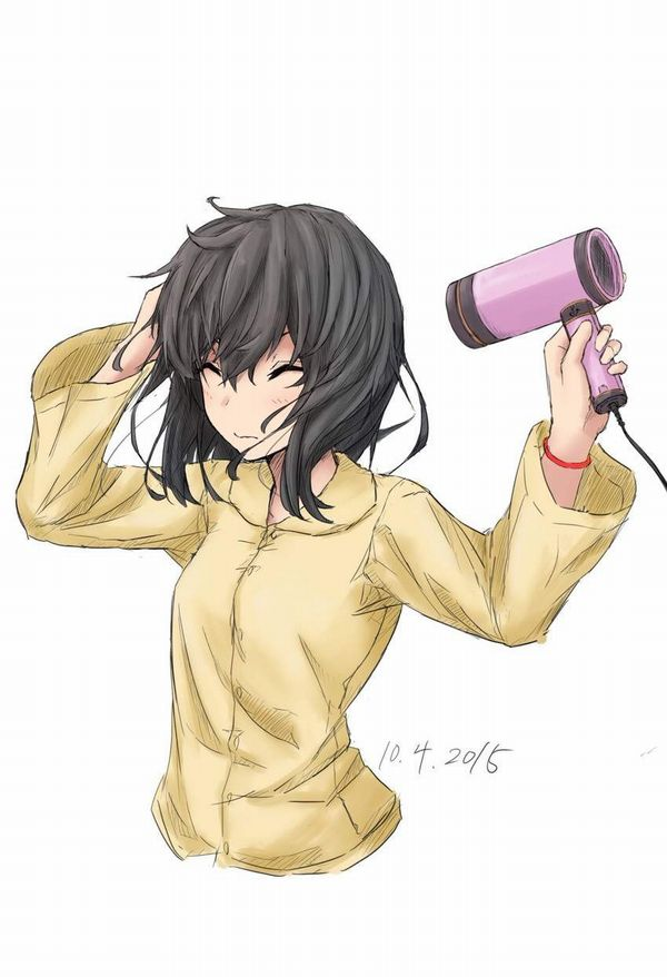 【女子力高い】ドライヤーで髪の毛を乾かす女子達の二次エロ画像【25】