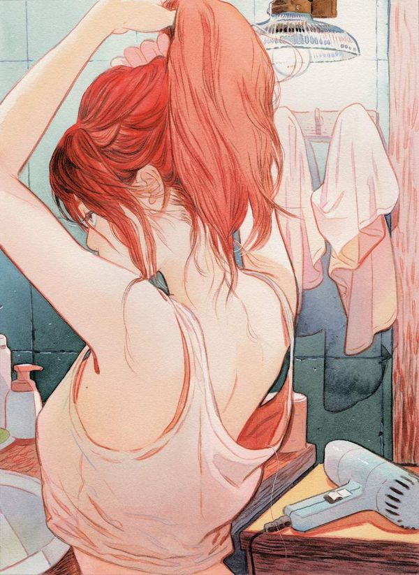 【女子力高い】ドライヤーで髪の毛を乾かす女子達の二次エロ画像【27】