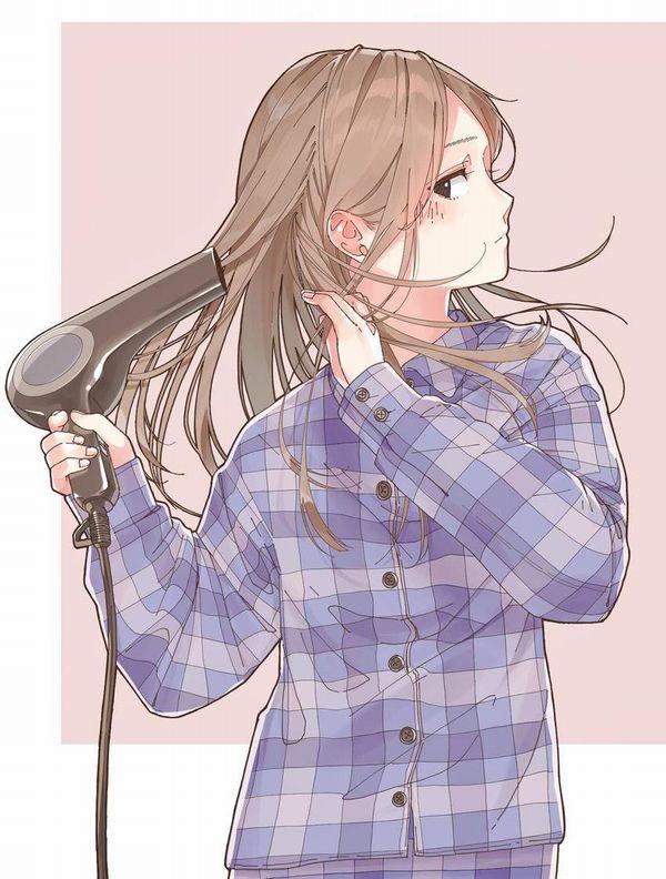【女子力高い】ドライヤーで髪の毛を乾かす女子達の二次エロ画像【38】