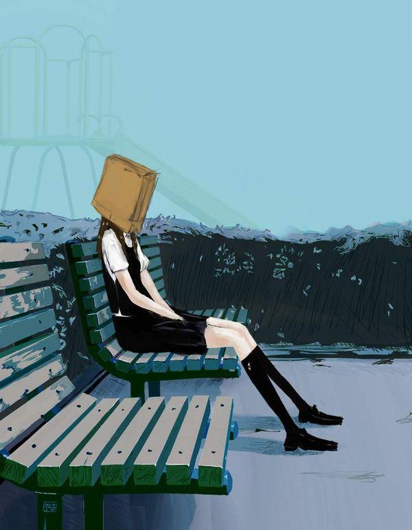 【闇を感じる】紙袋を頭に被った男女の二次エロ画像【15】
