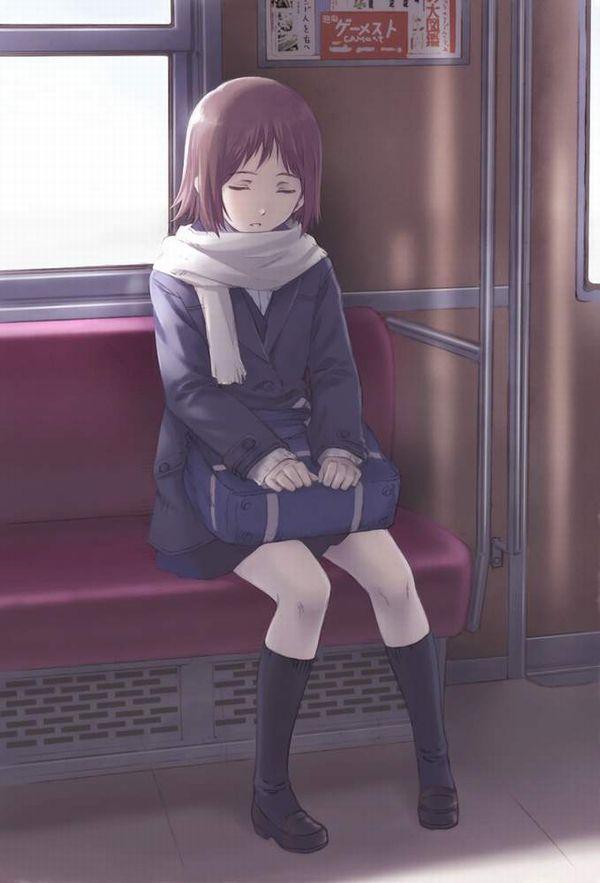 【お疲れ】電車内で寝ちゃってる女子達の二次画像【16】