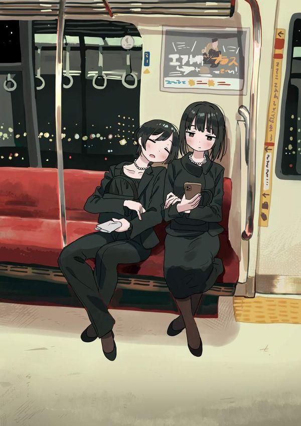 【お疲れ】電車内で寝ちゃってる女子達の二次画像【33】