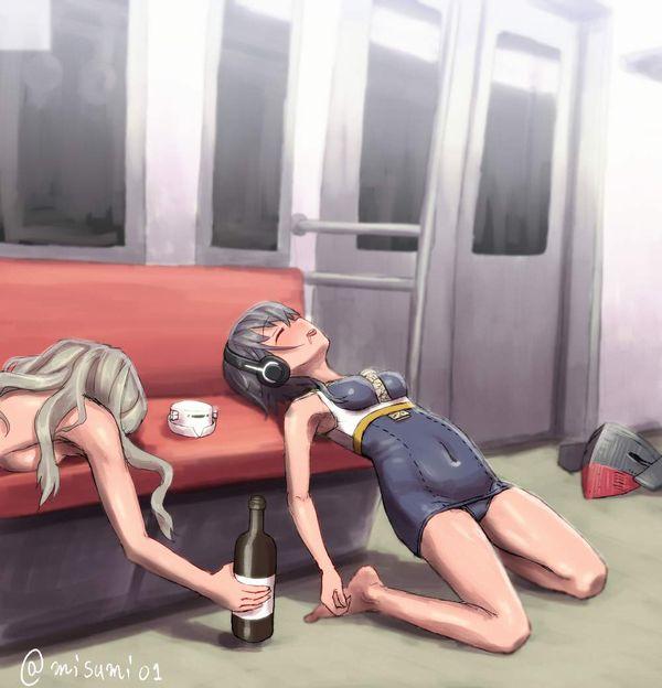 【お疲れ】電車内で寝ちゃってる女子達の二次画像【40】