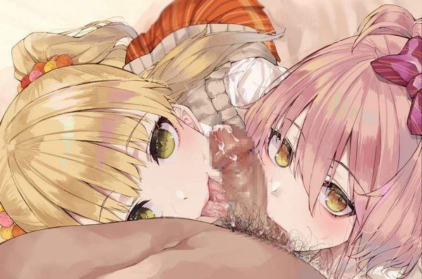 【夜のポッキーゲーム】2人の女の子が両サイドからフェラチオしてる二次エロ画像【8】