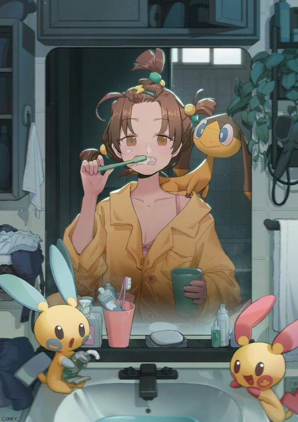 【適度に散らかってる】自宅洗面台で身支度をする女子達の二次エロ画像【8】