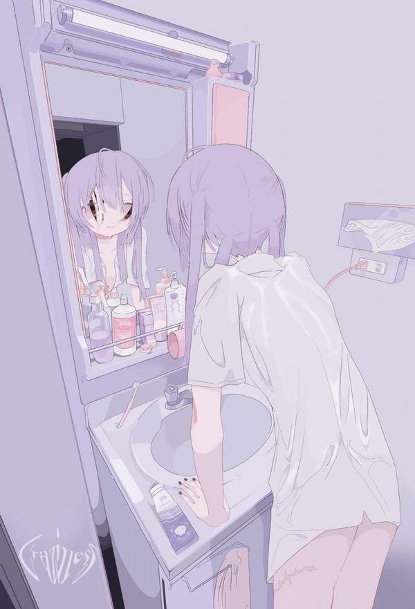 【適度に散らかってる】自宅洗面台で身支度をする女子達の二次エロ画像【40】