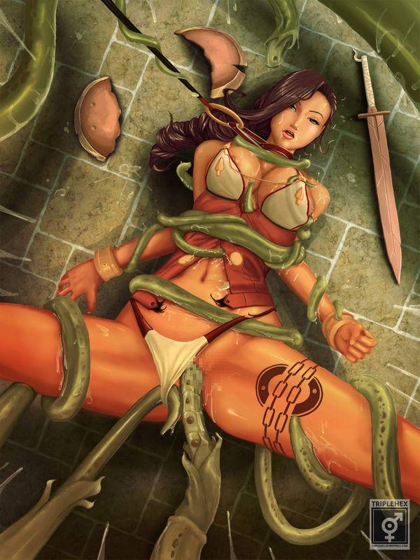【クイーンズブレイドリベリオン】囚われの竜戦士ブランウェンのエロ画像【9】