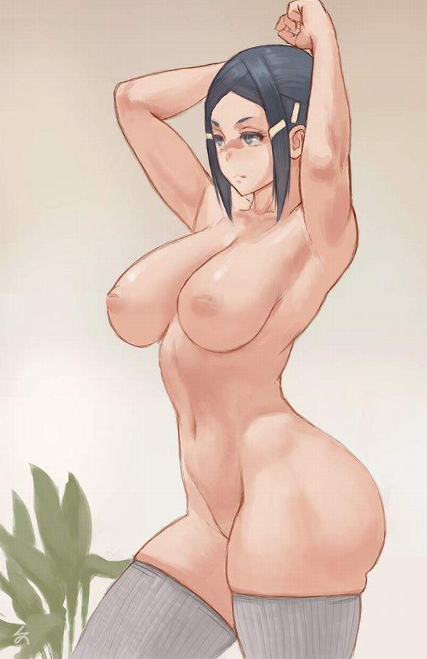 【ヌードモデル的ポーズ】全裸で腋見せつつ立つ女子達の二次エロ画像【10】