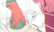 【無施錠の悲劇】トイレいきなり開けられて慌てる女子達の二次エロ画像