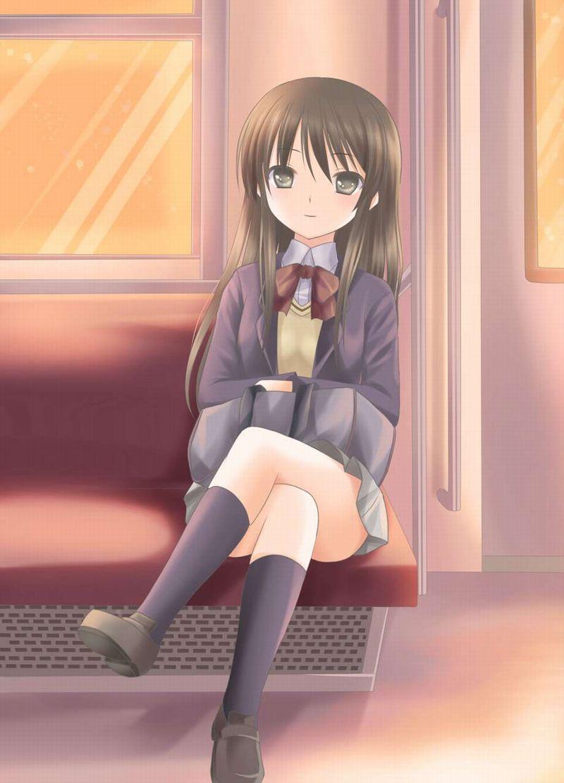 【チラ見不可避】電車で向かいの座席に女子高生が!!な、二次エロ画像【2】