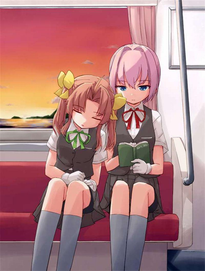 【チラ見不可避】電車で向かいの座席に女子高生が!!な、二次エロ画像【13】