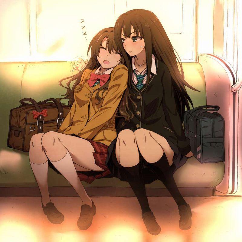 【チラ見不可避】電車で向かいの座席に女子高生が!!な、二次エロ画像【38】